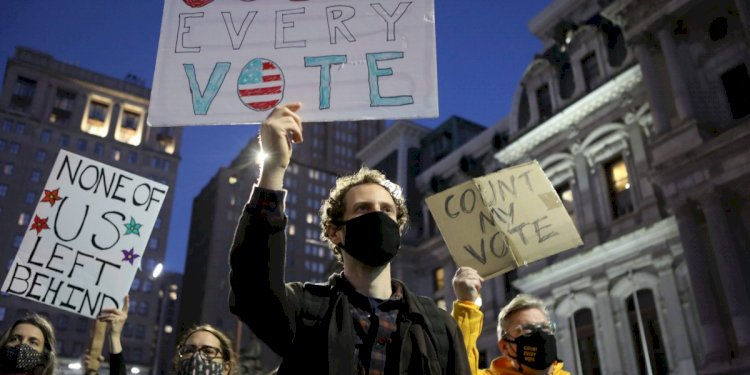 Americans assemble in protests and rallies across the country as votes are counted